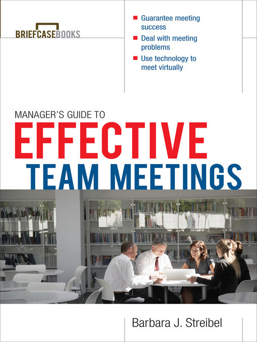 Title details for Manager's Guide to Effective Meetings by Barbara J Streibel - Wait list