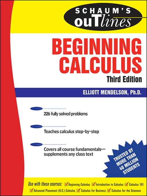 Title details for Beginning Calculus by Elliott Mendelson - Available