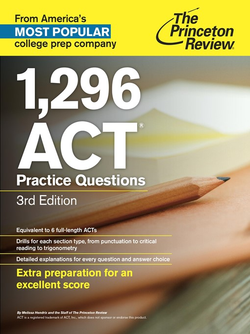 Title details for 1,296 ACT Practice Questions by Princeton Review - Available