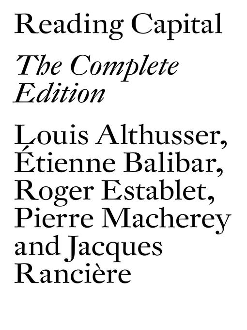 Title details for Reading Capital by Louis Althusser - Available