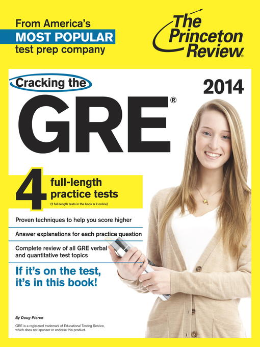 Cover of Cracking the GRE with 4 Practice Tests, 2014 Edition