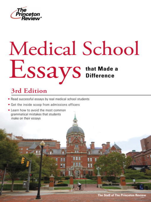 princeton review medical school essays that made a difference Medical school essays that made a difference, 5th edition by princeton review, 9780804125840, available at book depository with free delivery worldwide.