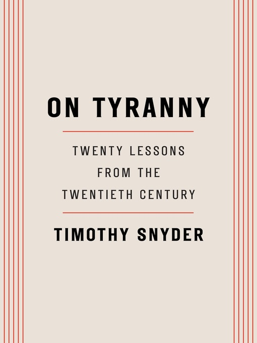 Title details for On Tyranny by Timothy Snyder - Wait list