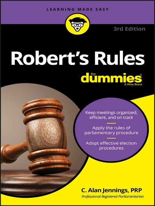 Title details for Robert's Rules for Dummies by C. Alan Jennings, PRP - Available