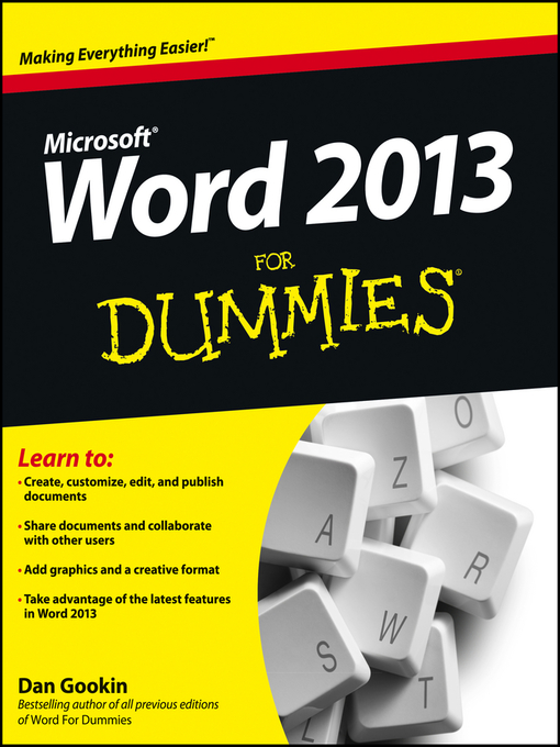 Title details for Word 2013 For Dummies by Dan Gookin - Wait list