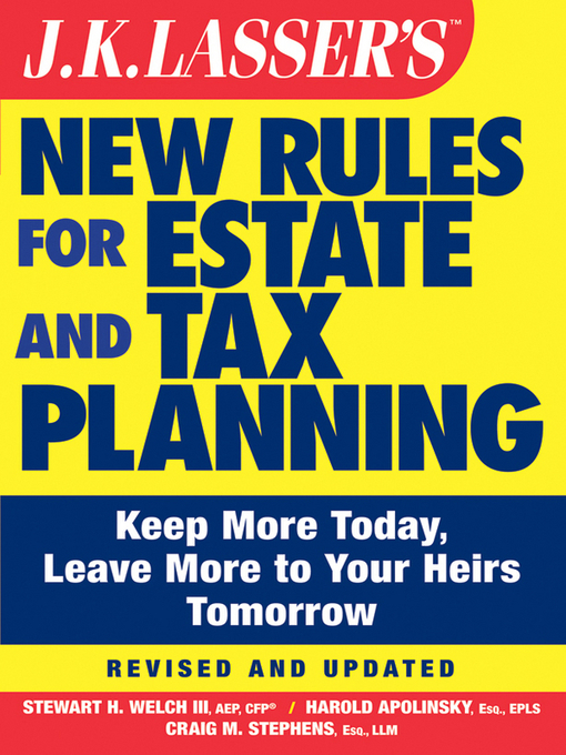 Cover of JK Lasser's New Rules for Estate and Tax Planning