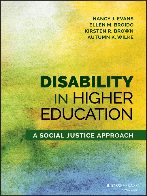 Title details for Disability in Higher Education by Nancy J. Evans - Available