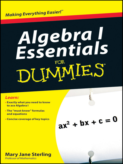 Title details for Algebra I Essentials For Dummies by Mary Jane Sterling - Wait list