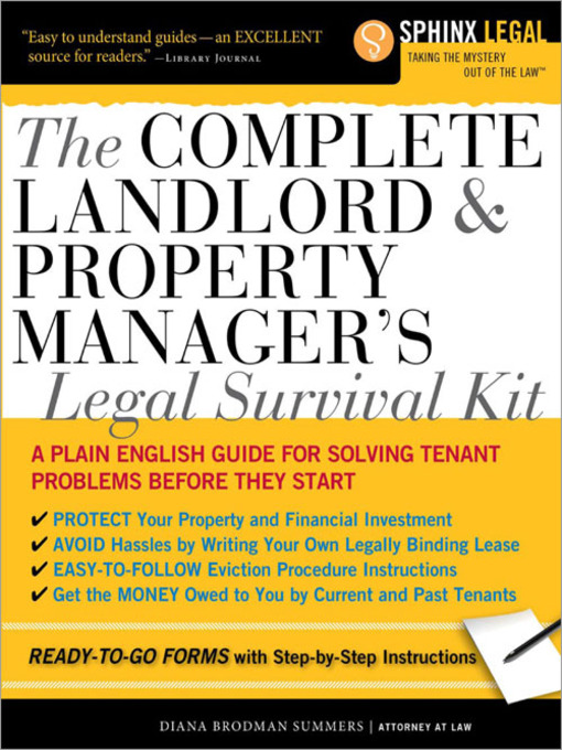 Title details for Complete Landlord and Property Managers Legal Survival Kit by Diana Brodman Summers - Available
