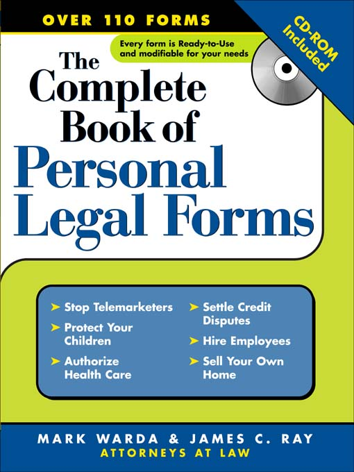 Title details for The Complete Book of Personal Legal Forms by Mark Warda - Available