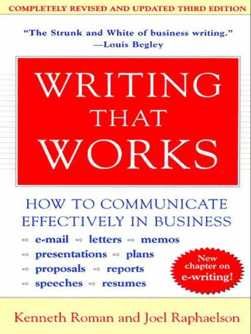 Cover of Writing That Works