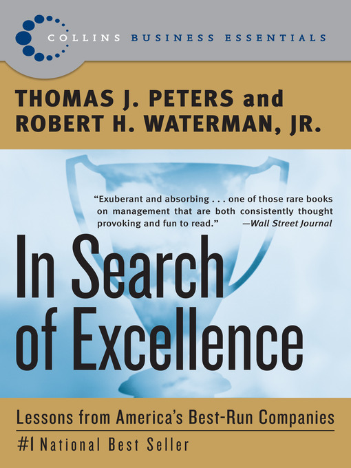 an analysis of the book in search of excellence lessons from americas best run companies by tom pete Books by thomas peters in search of excellence lessons from americas best run in search of excellence lessons from america's best-run companies by.