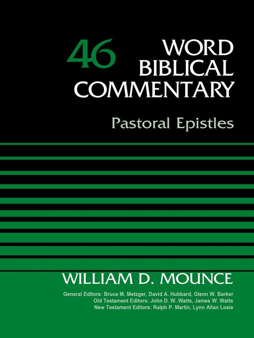 Title details for Pastoral Epistles, Volume 46 by Bruce M. Metzger - Available