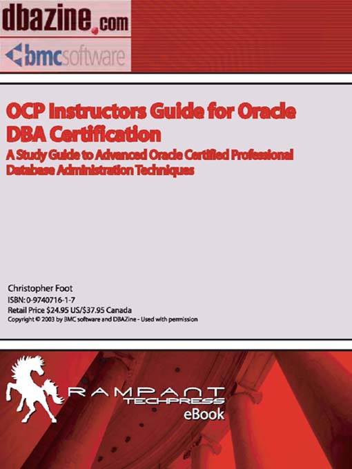 Ocp Instructors Guide To Oracle Dba Certification Media On Demand