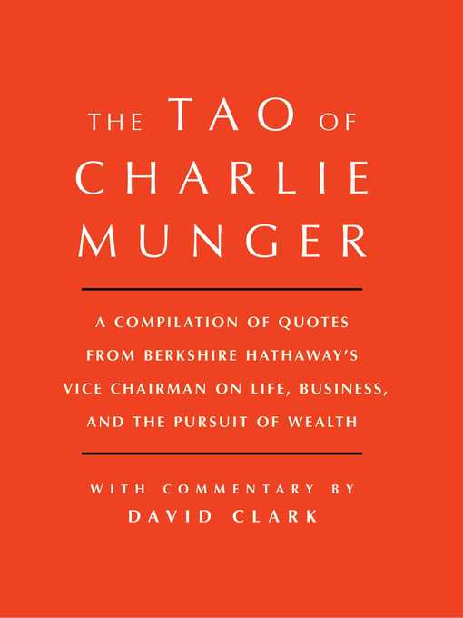 Title details for Tao of Charlie Munger by David Clark - Available