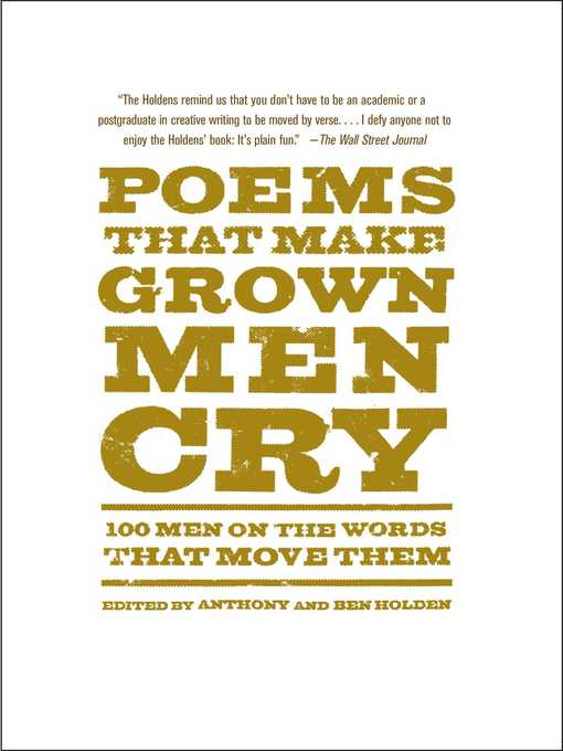 Title details for Poems That Make Grown Men Cry by Anthony Holden - Wait list