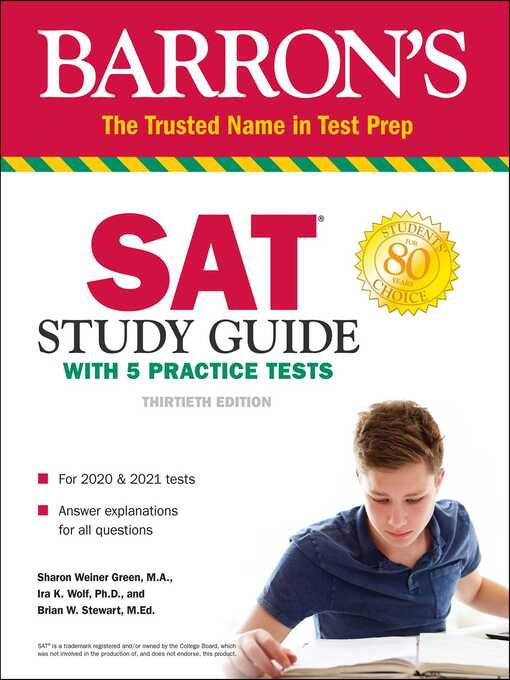 Sat study guide with 5 practice tests [electronic resource].