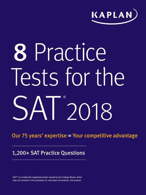 Cover of 8 Practice Tests for the SAT 2018