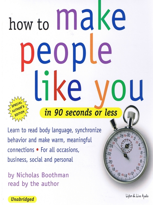 Title details for How to Make People Like You in 90 Seconds or Less by Nicholas Boothman - Wait list