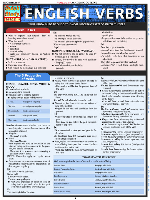 Title details for English Verbs by Lauren Scerbo - BarCharts - Available