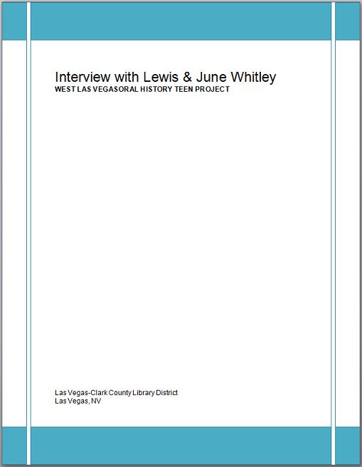 Title details for Interview with Lewis and June Whitley by Las Vegas - Clark County Library District - Wait list