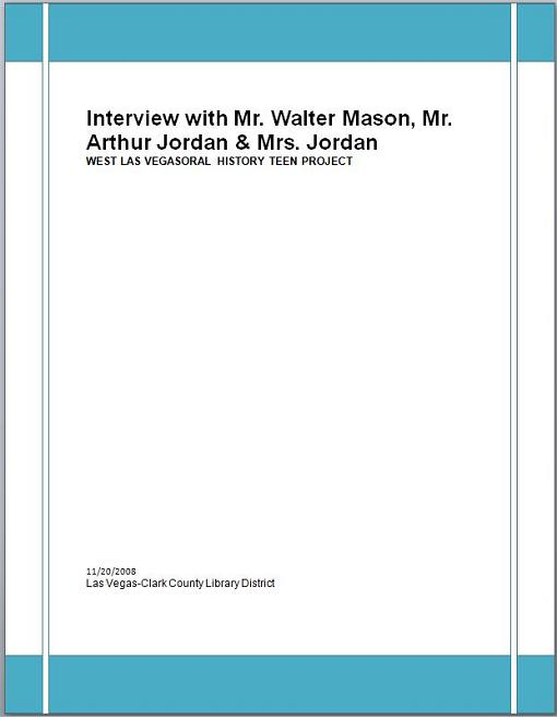 Title details for Interview with Mr. Walter Mason and Mr. and Mrs. Art Jordan  by Las Vegas - Clark County Library District - Wait list