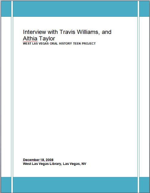 Title details for Interview with Mr. Travis Williams and Mrs. Althia Taylor by Las Vegas - Clark County Library District - Wait list