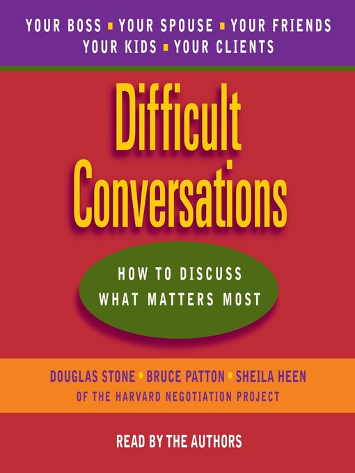 Difficult Conversations - Emory University - OverDrive