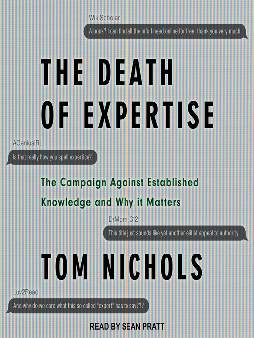 Title details for The Death of Expertise by Tom Nichols - Wait list