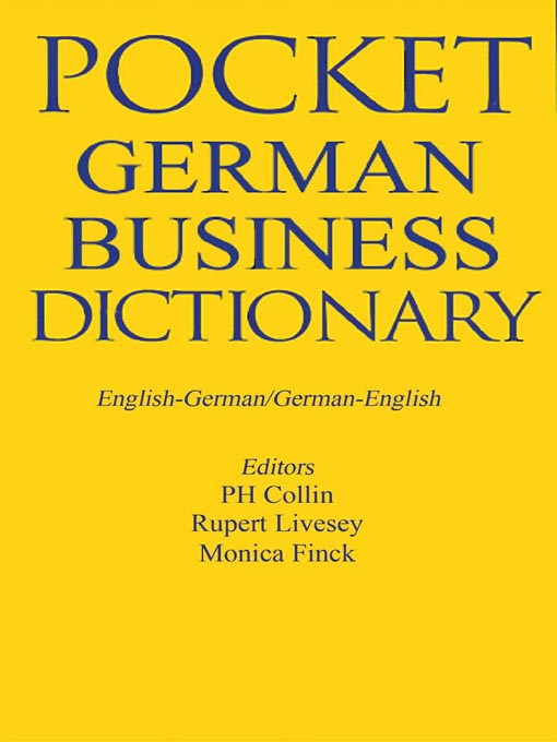 Title details for Pocket Business German Dictionary by A&C Black - Available