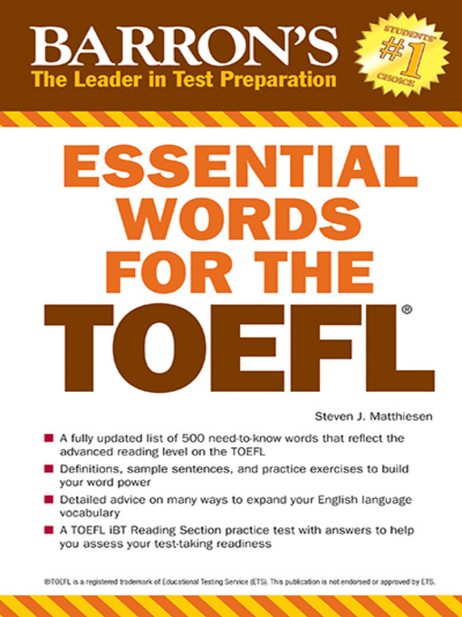 Title details for Essential Words for the TOEFL by Steven J. Matthiesen - Available