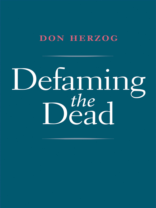 Cover of Defaming the Dead