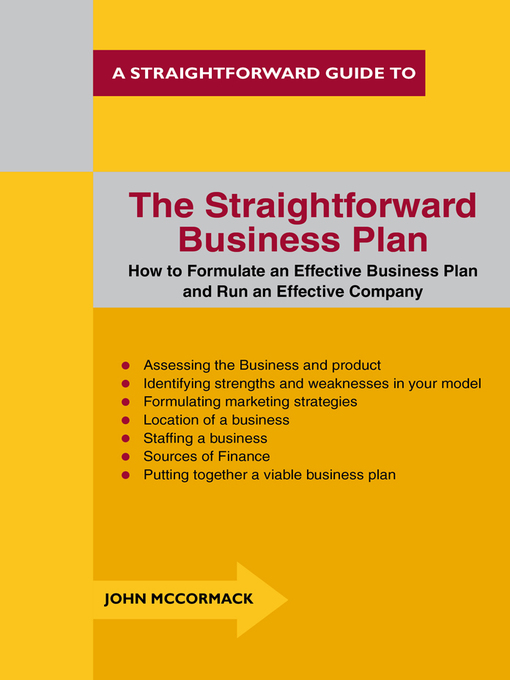 Title details for The Straightforward Business Plan by John McCormack - Available