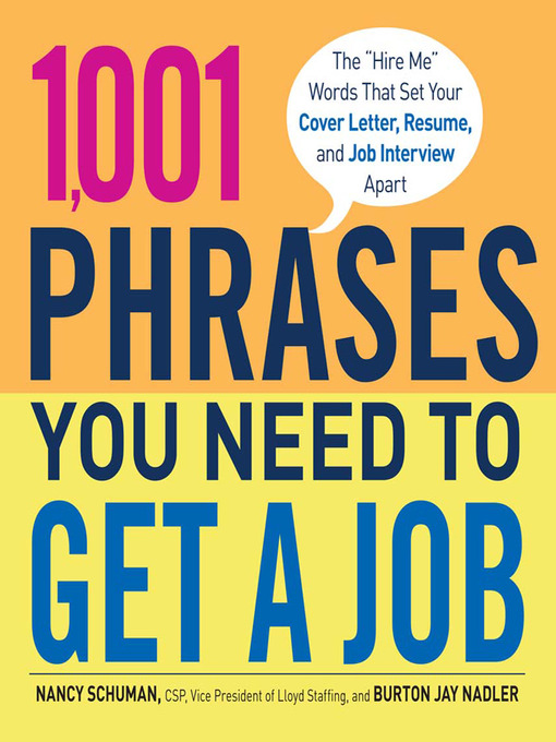 Title details for 1,001 Phrases You Need to Get a Job by Nancy Schuman - Wait list