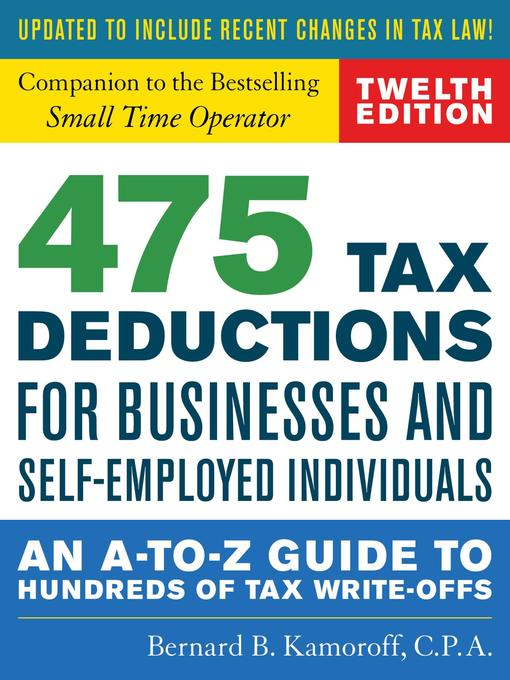 Title details for 475 Tax Deductions for Businesses and Self-Employed Individuals by Bernard B. Kamoroff - Wait list