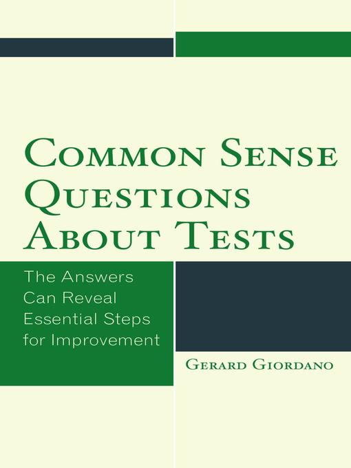 Cover of Common Sense Questions about Tests