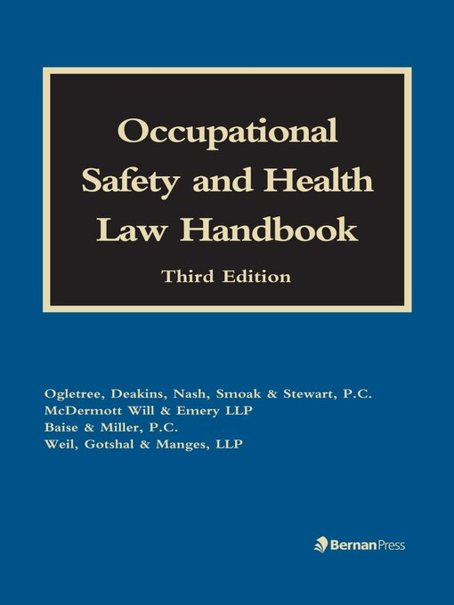 Cover image for Occupational Safety and Health Law Handbook