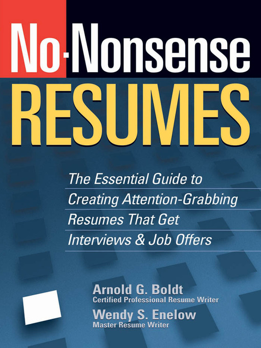 Title details for No-Nonsense Resumes by Wendy S. Enelow - Available