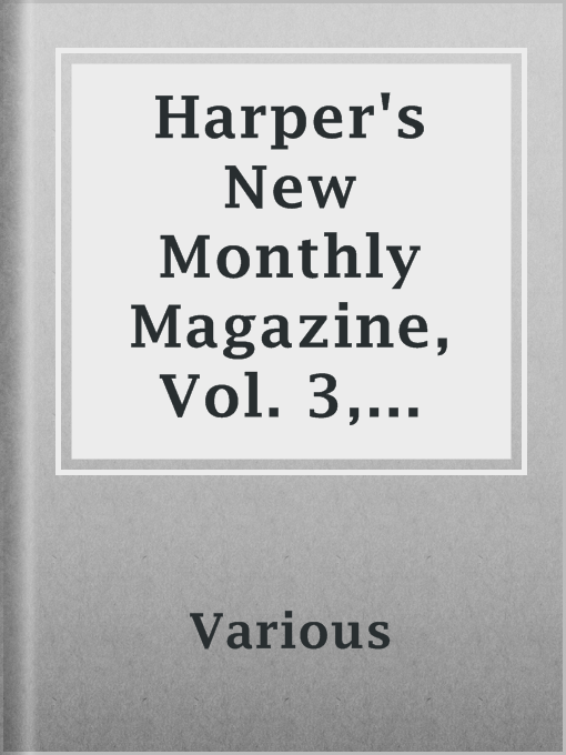 Cover of Harper's New Monthly Magazine, Vol. 3, July, 1851