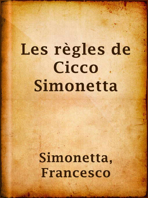 Title details for Les règles de Cicco Simonetta by Francesco Simonetta - Available