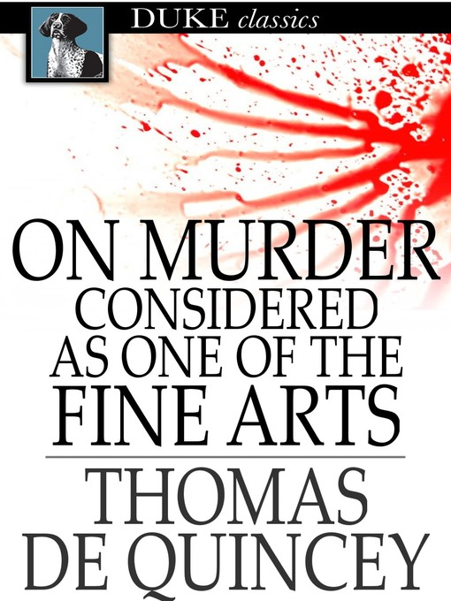 Cover of On Murder Considered as One of the Fine Arts