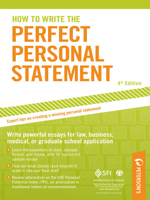 petersons perfect personal statements Verified book library perfect personal statements petersons statement summary pdf book: perfect personal statements petersons statement get this from a library.