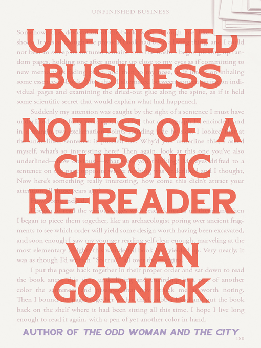 Title details for Unfinished Business by Vivian Gornick - Wait list