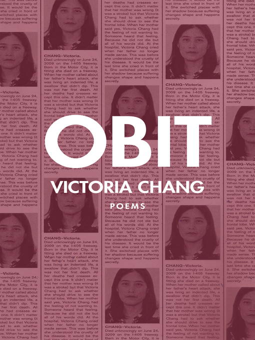 Title details for Obit by Victoria Chang - Available