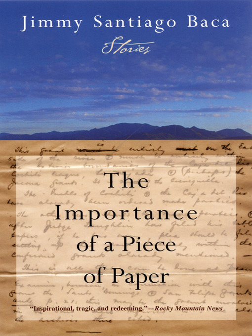 Title details for The Importance of a Piece of Paper by Jimmy Santiago Baca - Wait list