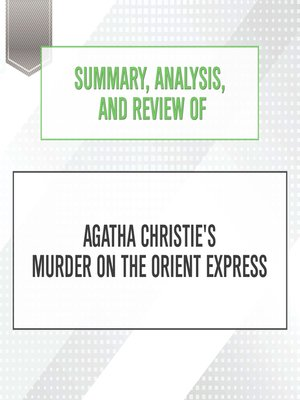 cover image of Summary, Analysis, and Review of Agatha Christie's Murder on the Orient ...