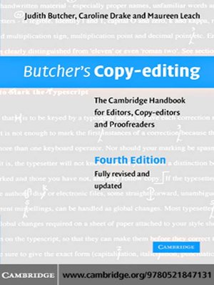 cover image of Butcher's Copy-editing