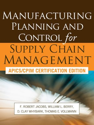 Manufacturing planning and control for supply chain management by f cover image fandeluxe Choice Image
