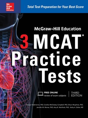 cover image of McGraw-Hill Education 3 MCAT Practice Tests