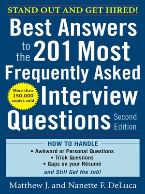 cover image of Best Answers to the 201 Most Frequently Asked Interview Questions